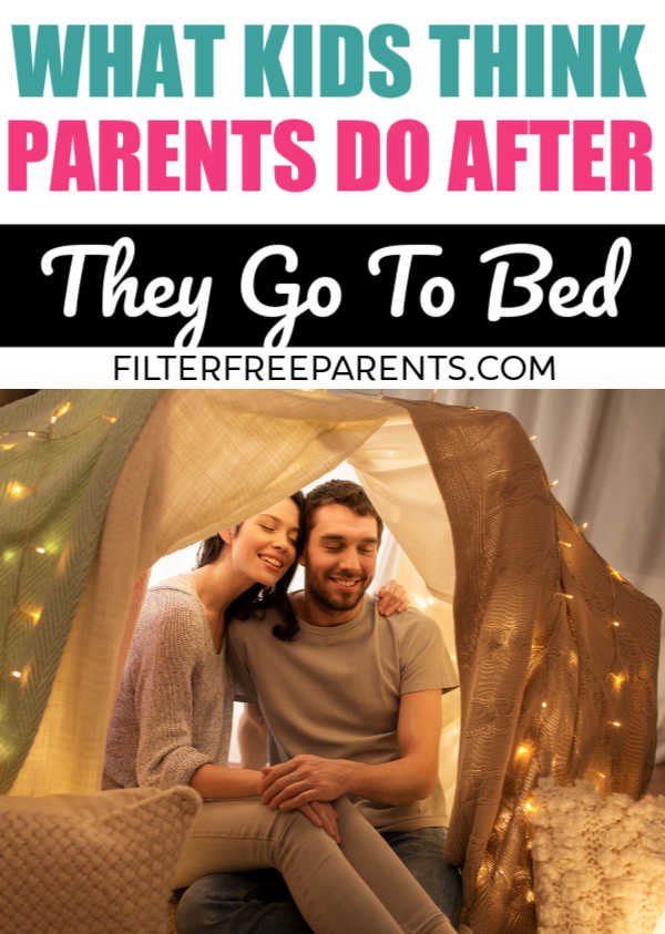 It's funny what parents think their parents do after they are asleep. Here's the real thing that most parents do after their kids go to bed. #humor #funny #parenting #motherhood #filterfreeparents #momlife