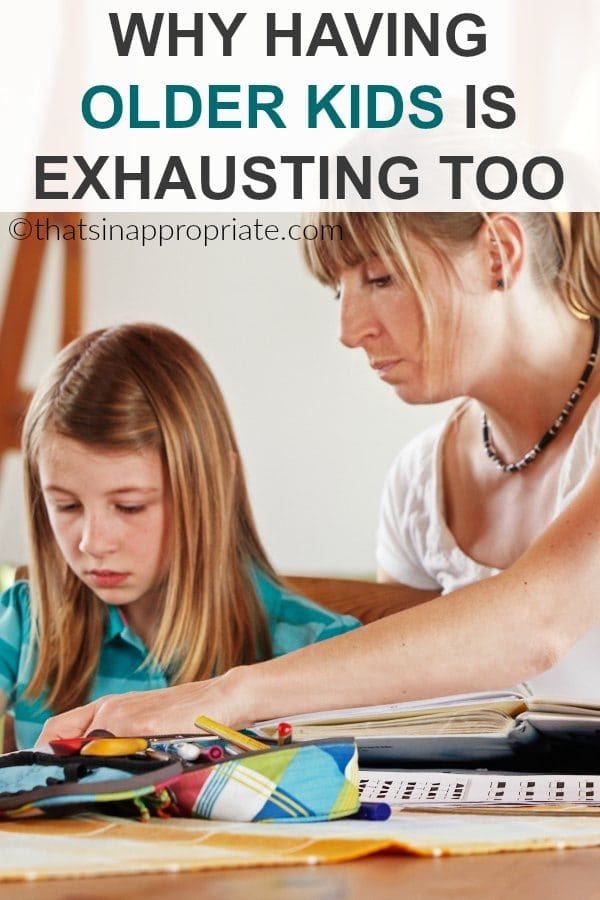 The newborn, toddler, and early years in the trenches are hard, but motherhood is exhausting in the years of older kids too. Your mental load is heavy, and there is still so much on your to-do list. #motherhood #momlife #parenting