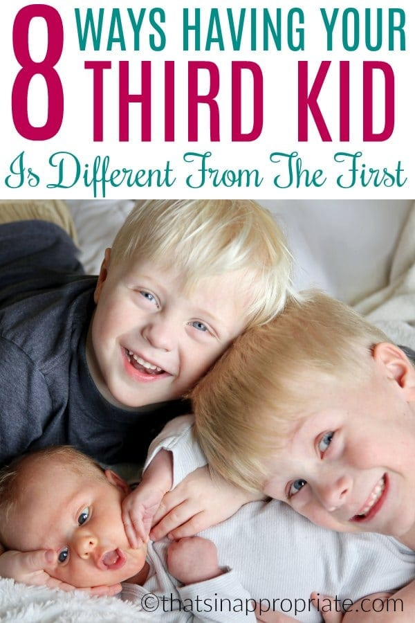 When you grow your family from one kid to two and then three, a lot changes. You change your parenting style a lot with each kid, and there really are some unique ways your parenting is different once you have three kids. #parenting #motherhood #momlife #threekids #funny #humor #parentinguncensored