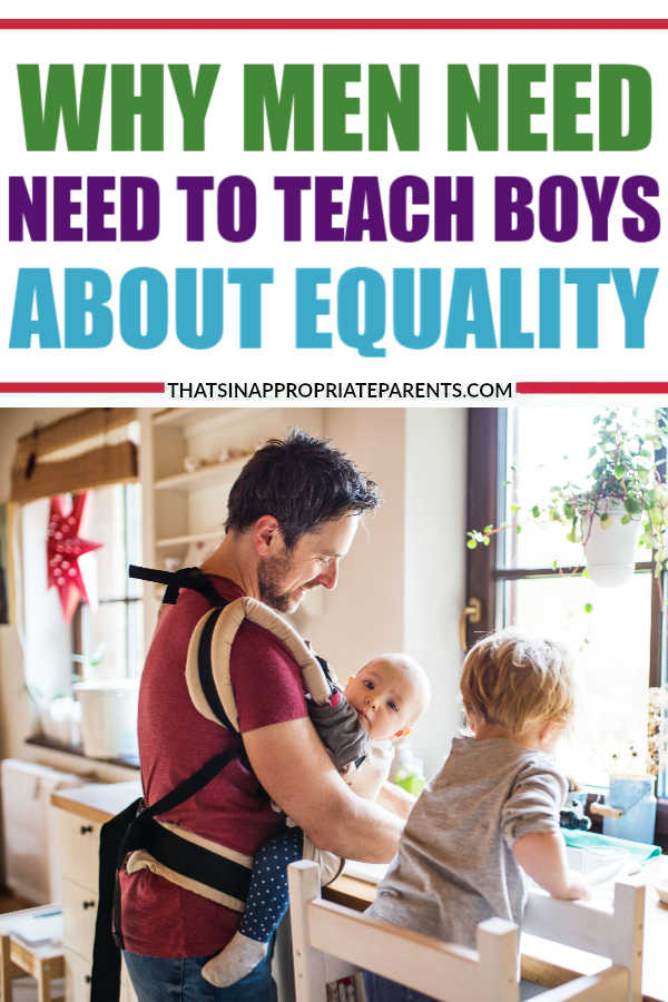 We are raising two boys in a world where men have privilege, and we are both keenly aware of that.  We take our responsibility to raise kind, compassionate, respectful men very seriously. It's all well and good that my boys are getting these feminist messages from me, but they land even harder when they come from their father. #dads #fatherhood #equality #womensrights #feminism #feminist