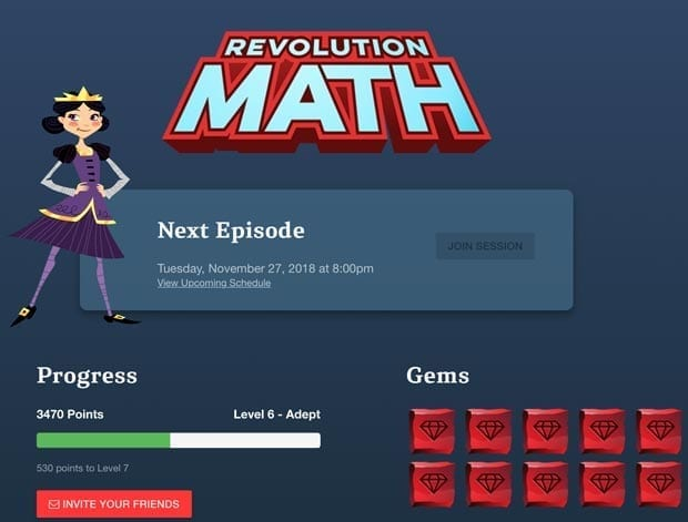 Revolution Math is an interactive learning activity that combines live tutoring with an immersive, story-based curriculum.