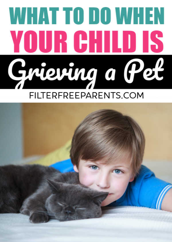 When your child is grieving the loss of a pet, it's hard to know how to comfort the. It's important to talk to your kids when there is a death of a pet. One mom handled it this way. And, it's important to cover grief with your kids too. #grieving #grief #kidsandgrief #kidsanddeath