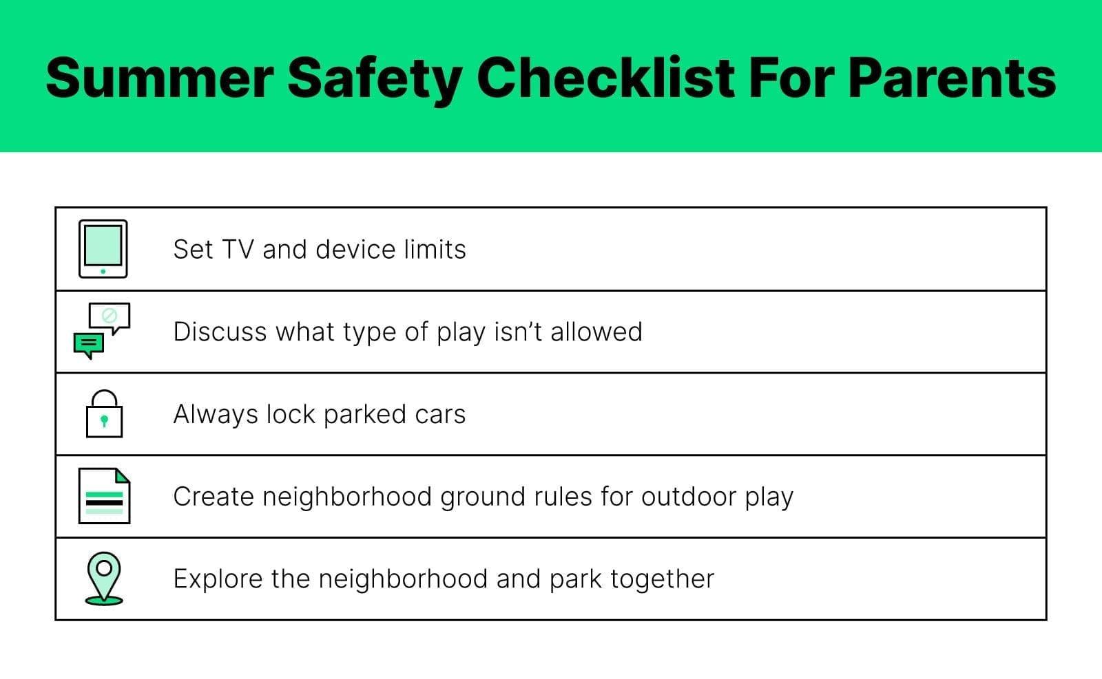 Summer Checklist for Parents